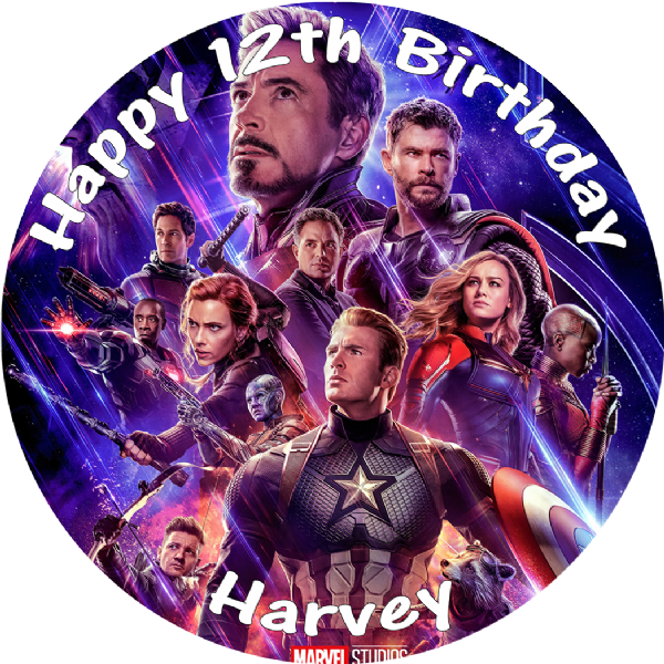 AVENGERS ENDGAME EDIBLE ROUND BIRTHDAY CAKE PERSONALISED DECORATION